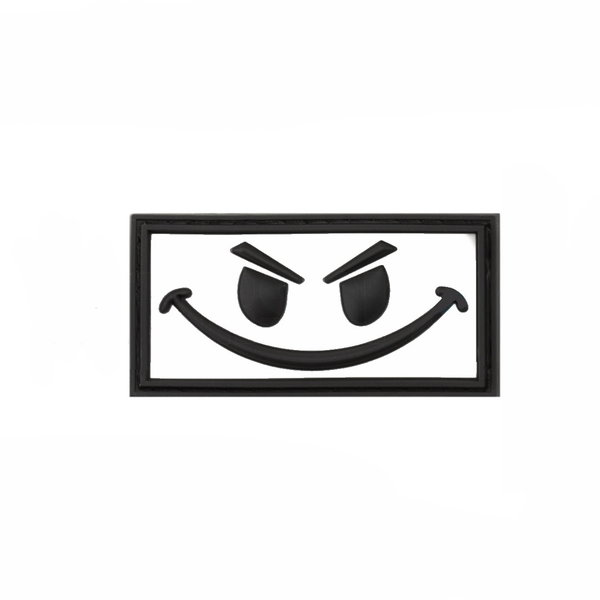 Patch / Embleem 3D PVC Smiley Wit