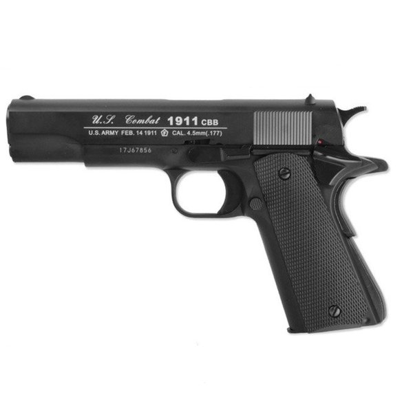Airgun M1911 Metaal Body, Blowback, Zwart